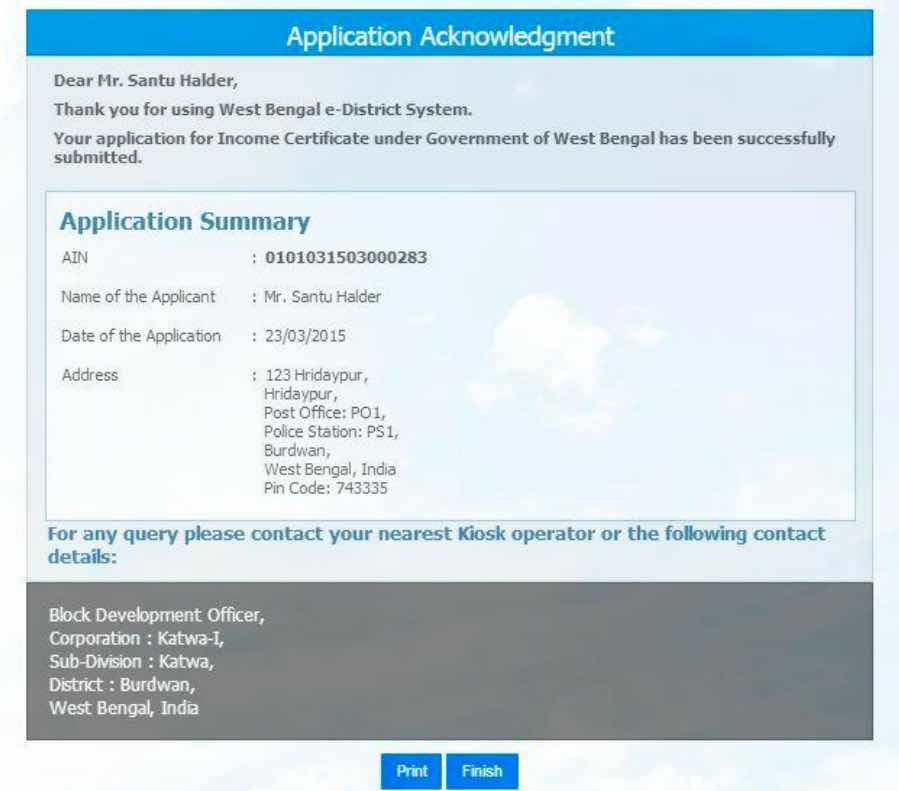 West Bengal e-District Application Acknowledgement.